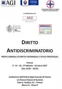 locandina corso diritto anti discriminitorio